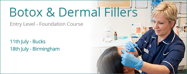 Cosmetic Courses: Banner showing Foundation Botox and Dermal Filler Training Dates