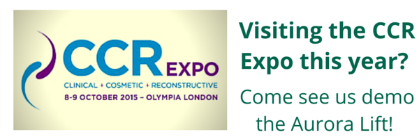 Banner showing a logo of the CCR Expo in October 2015 ;Cosmetic Courses