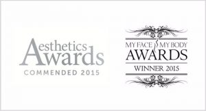 Aesthetics awards commended 2015 logo and my face my body winner 2015 logo cosmetic courses