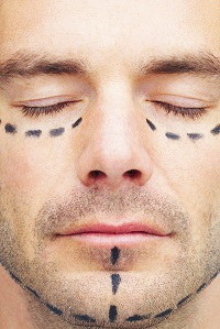 Cosmetic Courses; picture showing close up of man with facial markings